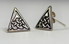 Silver Celtic Knot Triangle Earrings -- Medieval/Jewelry/Viking/Heart/Pair - NEW