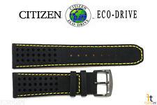 Citizen Eco-Drive B612-S084059 23mm Black Leather Watch Band w/ Yellow Stitching
