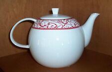 Ciroa Veluto Teapot Red White Fine Bone China NWT