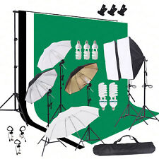 Photo Studio Photography Lighting Kit Softbox Umbrella Muslin Backdrop Stan