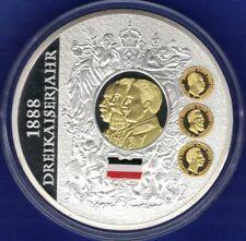 70mm Gigant Medaille Dreikaiserjahr 1888 versilbert vergoldet