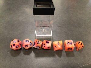 Lustrous Pink/Blue (Polyhedral 7-Die Set) Game RPG Dice