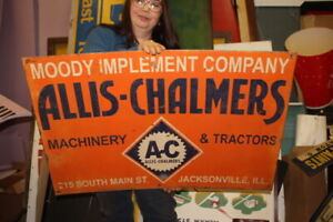 """Large Vintage A-C Allis Chalmers Farm Machinery & Tractor Gas Oil 36"""" Metal Sign"""