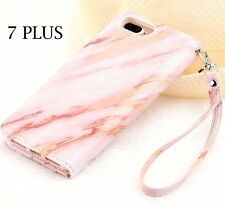 For iPhone 7+ PLUS - Pink Marble Pattern Card ID Holder Wallet Diary Case Cover