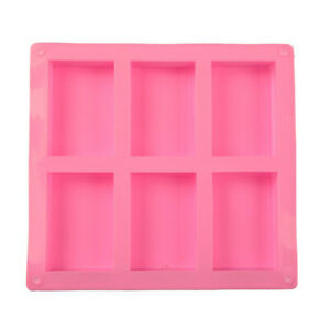 6 Cell Rectangular Silicone Soap Mold For Homemade Decorative Soap Making Mo_FR