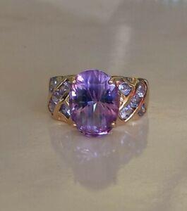 10k Yellow Gold Iolite Gemstone Solitaire Ring Yellow Gold Braided Ring Oval Iolite Ring Purple Gemstone Ring Yellow Gold Iolite Jewelry
