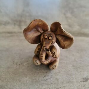 Small Handcrafted Pottery Elephant Happy Trunk Up Big Ears 6.5cm Cute Figurine