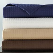 Hudson Park Mini Grid Queen quilted COVERLET & SHAMS set Champagne $450 Display