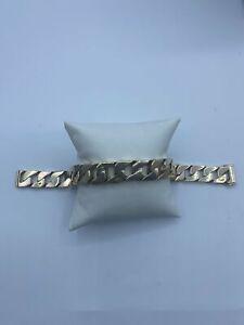 """9ct Gold Men's Heavy Curb Bracelet - 9"""", 14mm, 94.6g"""