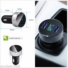 Dual USB Car Charger Adapter Voltage DC 5V 3.1A Tester For iPhone Samsung phone