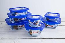 PYREX COOK & GO AIRTIGHT GLASS FOOD STORAGE CONTAINERS WITH BLUE PLASTIC LID
