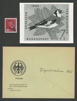 BRD FOTO-ESSAY 403 VÖGEL 1963 GIMPEL BIRDS BULLFINCH PHOTO-ESSAY PROOF RAR e684