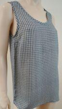 JOSEPH Navy Blue & Cream Silk Deborah Small Check Cami Vest Tank Top Sz:40; UK12