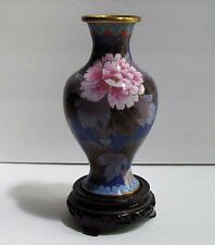 Vintage Mcm Chinese Floral Cloisonne Vase with Wood Base