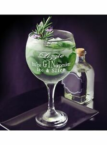 Gin Balloon Glass, bloom Copa design, personalise with name and message