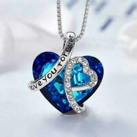 Women Silver Heart Pendant Necklace Crystals Elegant Jewelry Crystals J4T0 W3K1