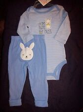 "NEW Carter's Newborn Baby Boy ""On The Hunt For Hugs"" Easter Bodysuit & Pant~Blue"