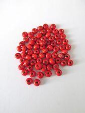 500+pcs rojo teñido 6 mm Granos Redondos de Madera Joyería Making Craft UK