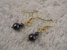 Hemetite Bead Goldtone Pierced Earrings (D36)