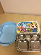 PORORO Stainless Steel Food Snack Plate Tray Lunch Box for Kids Pre-owned Blue