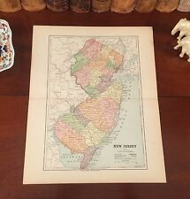 Original 1890 Antique Map NEW JERSEY Elizabeth Paterson Newark Edison Camden  NJ