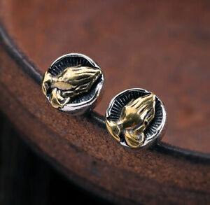 Faith Prayer Hand Biker Men Hip Hop Sterling Silver &Brass Stud Earrings A1123