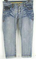 COOGI Womens 7/8  Light Wash Denim Capri Pants Jeans Embroidered Distressed EUC