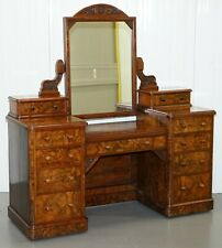STUNNING VICTORIAN COLLINGE'S BURR WALNUT DRESSING TABLE WITH DRAWERS & MIRROR