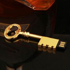 32GB Vintage Metal Gold Key USB 2.0 Memory Stick Flash Drive Pen Drive Storage