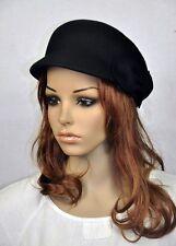 M80 Black Wool Cashmere Cute Bow Brim Fedora Bucket Hat Cap Church Dress