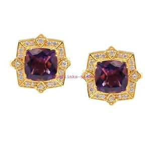 Natural Amethyst & CZ Gemstones With 925 Sterling Silver Gold Plated Cufflinks