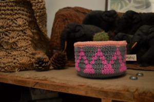 Pink and Grey Crochet Basket