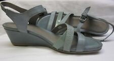 "ECCO 2 1/2"" Wedge Sandals Leather Patent Textured Strappy Ankle Strap SIZE 41"