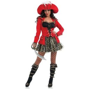 Ladies Red Glitzy Pirate Costume Caribbean Buccaneer Fancy Dress Size Small 8-10