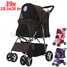 "39"" Pet Stroller Cat Dog 4 Wheel 360° Jog Folding Travel Carrier Strolling Cart"
