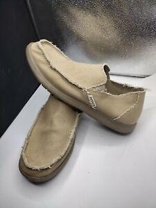 Crocs Men's Size 13 Santa Cruz Frayed Canvas Khaki Loafer Slip On Shoes