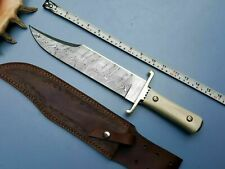 Beautiful Custom Handmade Damascus Steel Hunting Bowie Knife   Camel Bone Handle