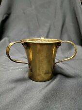 Vintage Brass And Copper Hammered Russian 3 Handled Judaica Lavar Cup