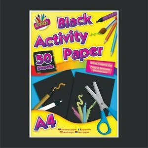 A4 Black Paper 50 Sheets Art Craft Activity Paper Sheets Home Office College Use