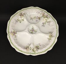 Beautiful Limoges Oyster Plate with Purple Flowers Wright Tyndale and Van Roden