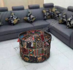 Indian Patchwork Round Pouf Ottoman Cover Foot Stool Moroccan BlackPouffe Cover