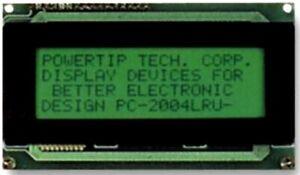 PowerTip PC2004ARS-AWA-A-Q Alphanumeric LCD Display - 20 x 4 Black on Yel/Green