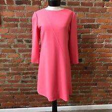 "Bill Blass Dress Pink Crepe 3/4"" sleeve A-Line Rhinestone Button 10"