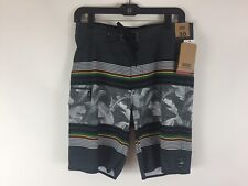 """Mens white grey tropical Vans 4 way stretch board shorts Size 30 inseam 9"""" New"""
