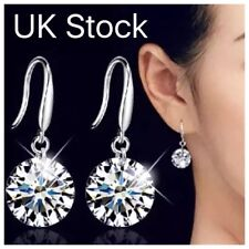 Stirling Silver Elegant Earrings 8mm Crystal Stud Drop Dangle Womens Ladies Girl