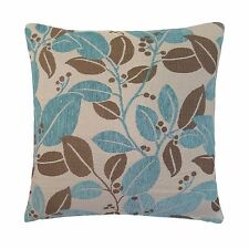 """FUNKY CARNABY BLUE BEIGE LEAF FLORAL CHENILLE 18"""" THICK CUSHION COVER #AHLOF"""