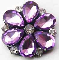 Sparkling Acrylic Crystal Wedding Flower Bridal Purple Tone Shoe Clips Pair