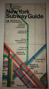 VINTAGE NYC 1974 NEW YORK CITY SUBWAY MAP GUIDE MOMA MASSIMO VIGNELLI DESIGN