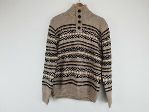 MANTARAY beige brow knitted warm cosy winter wool blend pullover jumper size M