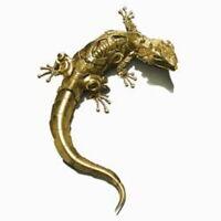 Mechanische Echse Reptil Aufkleber Sticker Auto Gold Gelb Eidechse Schatten 3D